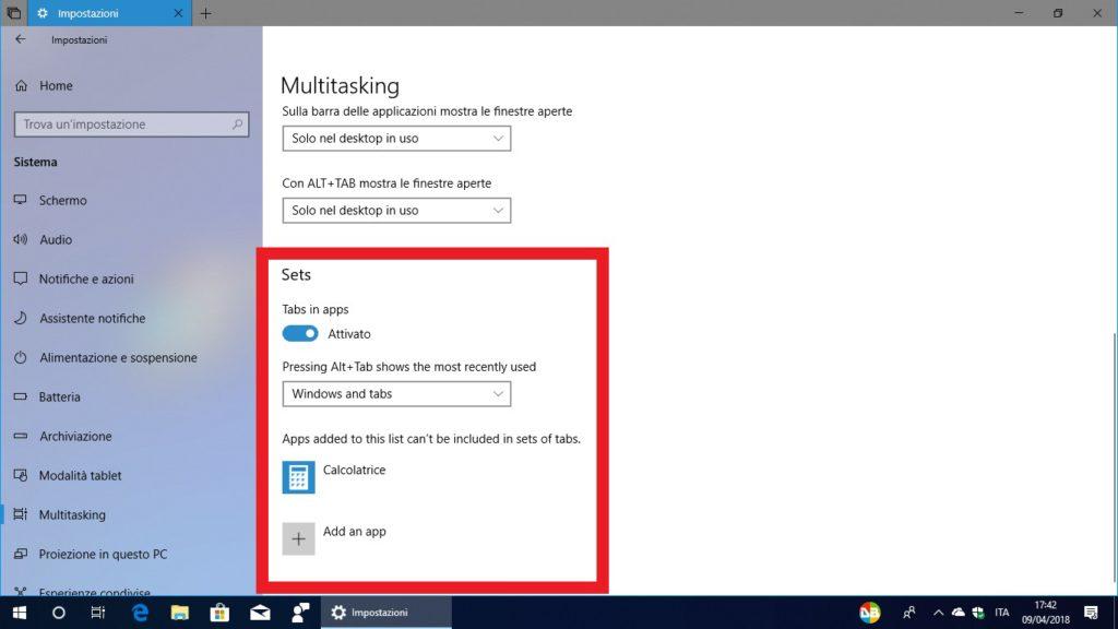Sets: recap delle novità introdotte in Windows 10 Redstone 5