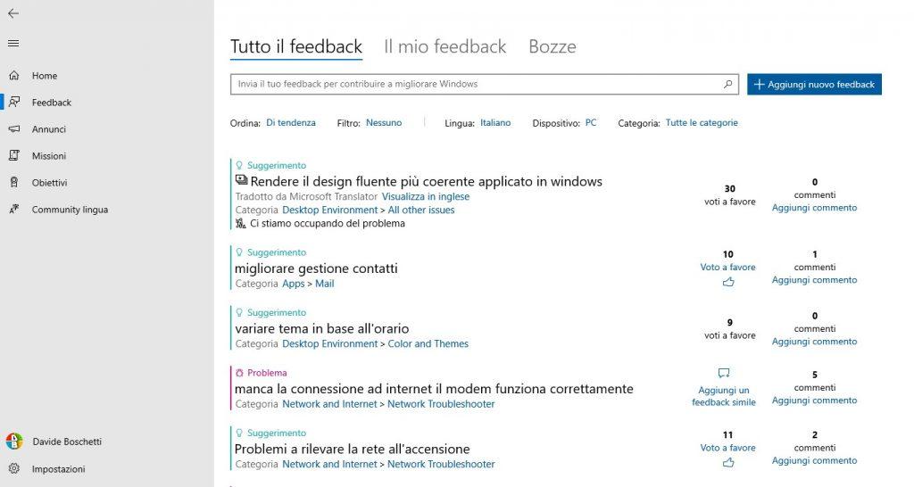 Feedback Hub si aggiorna: UI migliorata [Insider]