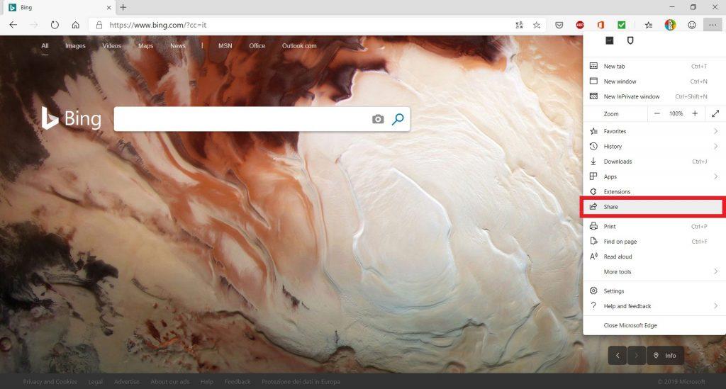 Microsoft Edge Chromium |  introdotta la schermata Condividi