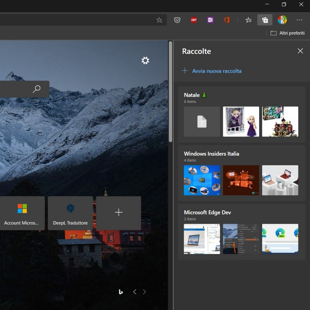 Microsoft Edge Dev |  Raccolte abilitate di default