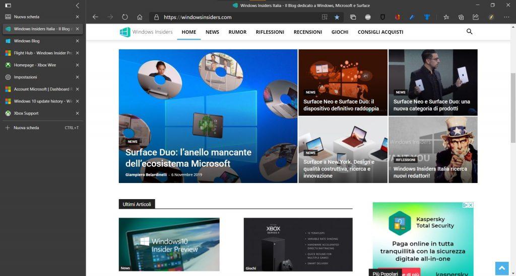 Microsoft Edge Dev: novità versione 86.0.601.1