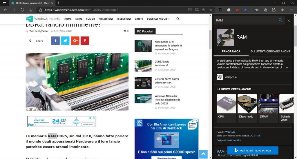 Microsoft Edge Dev |  tema scuro nella barra di ricerca laterale